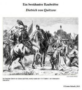 Raubritter Dietrich von Quitzow (auf Knien, rechts) muss sich 1414 Friedrich I. von Hohenzollern unterwerfen